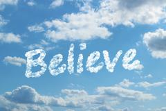 Stock Illustration of believe word on cloud