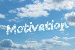 Motivation word on cloud - stock illustration