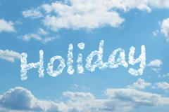 Holiday word on cloud Stock Illustration
