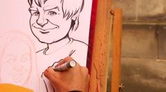 Street Artist Caricature - stock footage