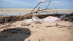Closeup of Dirty Beach. Polluted Coast. Slow Motion. Stock Footage