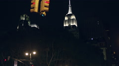 Empire State Building Manhattan New York City NYC USA 4K Cars Driving Night - stock footage