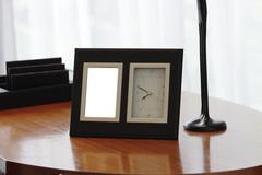 Photo frame and clock Stock Photos