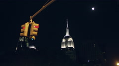 Empire State Building Manhattan New York City NYC USA 4K Taxi Cabs Driving Night Stock Footage