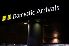 Domestic arrivals airport transport Stock Photos