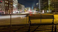 Hamburg city life by night - crossroad - DSLR dolly shot time lapse Stock Footage