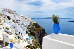 The view on fira town and aegean sea, santorini island, greece Stock Photos