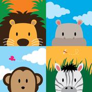 Close up of cute set of zoo animals Stock Illustration