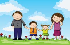 sweet happy family - stock illustration