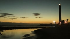 Maspalomas lighthouse sunset Stock Footage