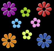rainbow cartoon flower clip art on black - stock illustration
