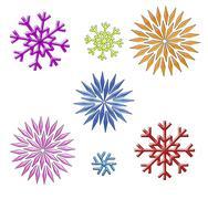 rainbow snowflakes clip art on white - stock illustration