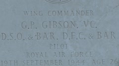 The grave of World War II RAF pilot, Guy Gibson in Steenbergen, Netherlands. Stock Footage