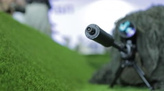 Sniper in grass Stock Footage