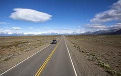 Endless empty country highway, ruta 40. Stock Photos