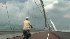 "The new Nijmegen road bridge (""The Crossing"") over the Waal River, Netherlands. Stock Footage"
