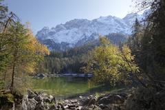 frillensee lake with wetterstein-gebirge mountains, grainau, werdenfelser lan - stock photo