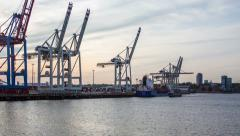 Hamburg harbor with unloading container ship - DSLR hyper lapse Stock Footage
