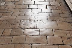 Old stone pavement in the old town of zadar, dalmatia, croatia, europe Stock Photos
