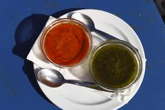 mojo rojo and mojo verde, red and green sauces, lanzarote, canary islands, sp - stock photo