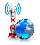 Global telecommunications concept - stock illustration