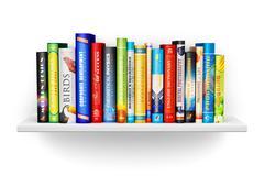 Bookshelf with color hardcover books Stock Illustration