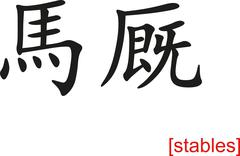 Chinese Sign for stables - stock illustration