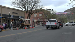 Durango Colorado downtown horse wagon ride 4K 184 Stock Footage
