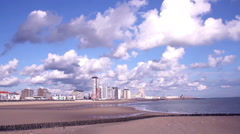 View of the beach of a small Dutch town Vlissingen. - stock footage