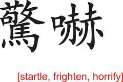 Stock Illustration of Chinese Sign for startle, frighten, horrify