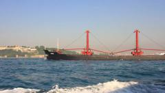 Bulker ship cruising into the sea. Bulk carrier Stock Footage