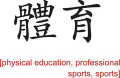 Stock Illustration of Chinese Sign for physical education, professional sports, sports