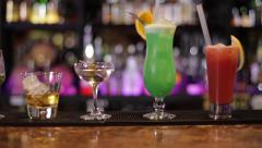 Cocktails line Stock Footage
