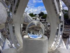 magic ball in white temple. - stock photo