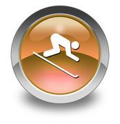 icon, button, pictogram downhill skiing - stock illustration