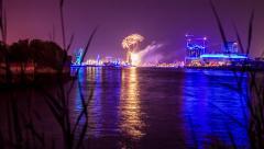 4K Hamburg harbor and city skyline - fireworks - DSLR timelapse dolly shot Stock Footage