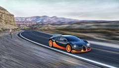 Supercar driving in the desert - stock photo