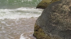Stock Video Footage of Waves in the Azov Sea  on a stormy day. Waves crushing into the rocks