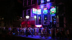 Red Light District in Amsterdam nightlife Stock Footage