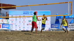 Slow motion beach volleyball Stock Footage
