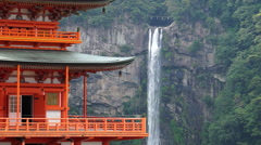 Pagoda of Seigantoji and Nachi Falls Stock Footage