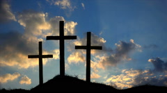 Three Crosses on a Hill at Sunset HD Stock Footage