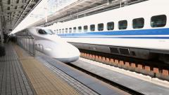 Shinkansen (Bullet Train) arrives Shin-Osaka Station - stock footage