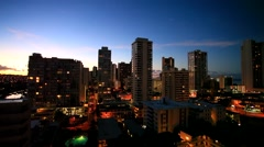 Waikiki Beach and Honolulu at night, Honolulu, Oahu island, Hawaii Stock Footage
