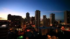Stock Video Footage of Waikiki Beach and Honolulu at night, Honolulu, Oahu island, Hawaii