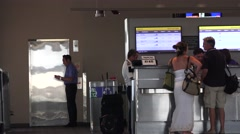 Airport terminal traffic, customer service Stock Footage