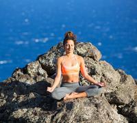 yoga woman meditation - stock photo