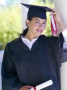 Graduate, hand on cap, portrait Stock Photos