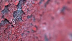 Peeling paint on an old concrete wall of the destroyed building. shallow dept Stock Footage