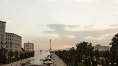 Fountains in the center of Dushanbe at sunset. Tajikistan. 4K Stock Footage